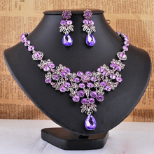 Bridal Noble Purple Floral Waterdrop Crystal Rhinestone Necklace Earrings Wedding Jewelry Set fit Evening Party Dress Accessory(China (Mainland))