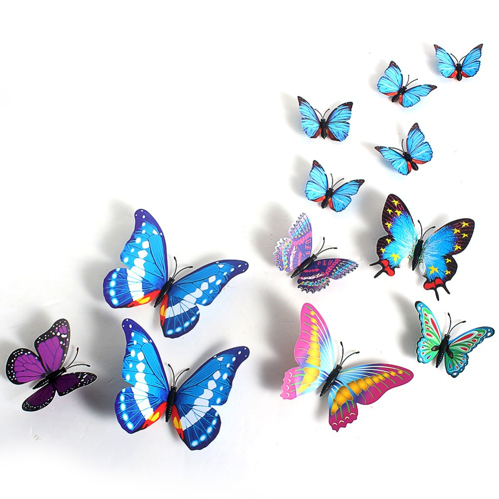 12pcs creative butterflies 3d wall stickers pvc removable for 3d butterfly decoration