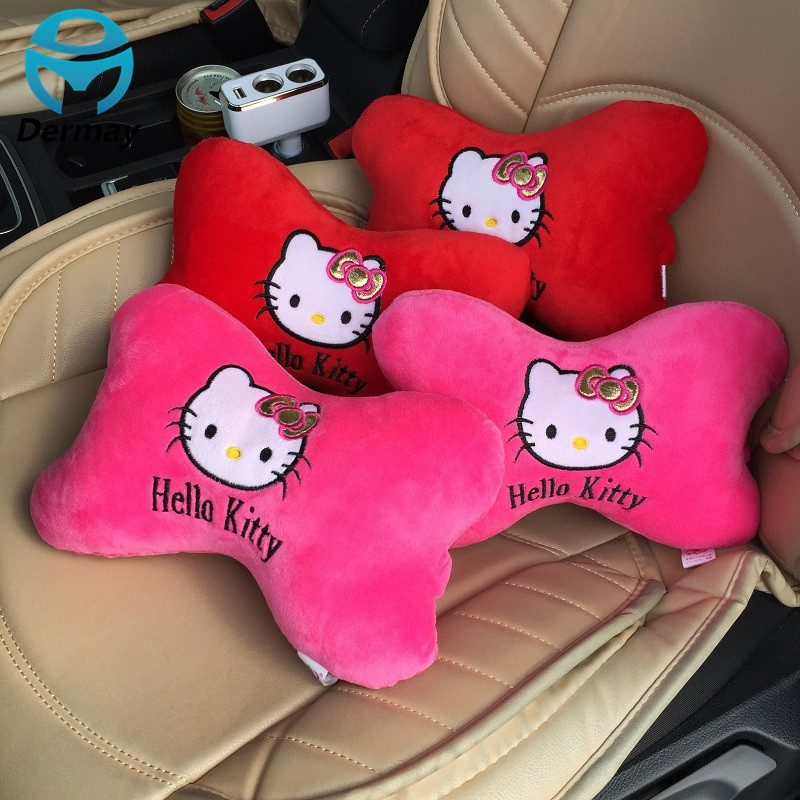 Cute Car Neck Pillow Support Car Seat Covers Pink Red Hello Kitty Car Accessories(China (Mainland))