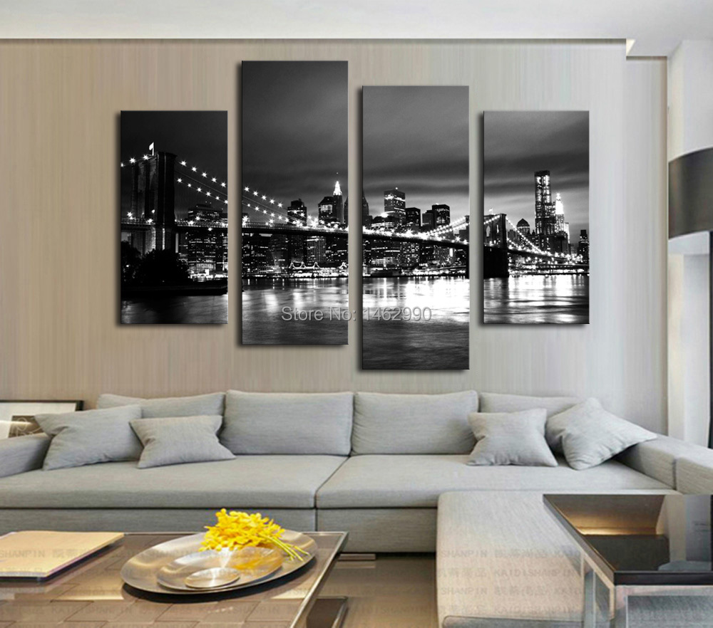 Not framed canvas print canvas painting new york brooklyn for Living room west 6 brooklyn