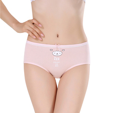 Buy 5 Pieces/lot Women Cotton Brief Underwear Cartoon Mid-waist Panties Anti-Bacterial Breathable Ladies Girl's pink underpants for $8.80 in AliExpress store