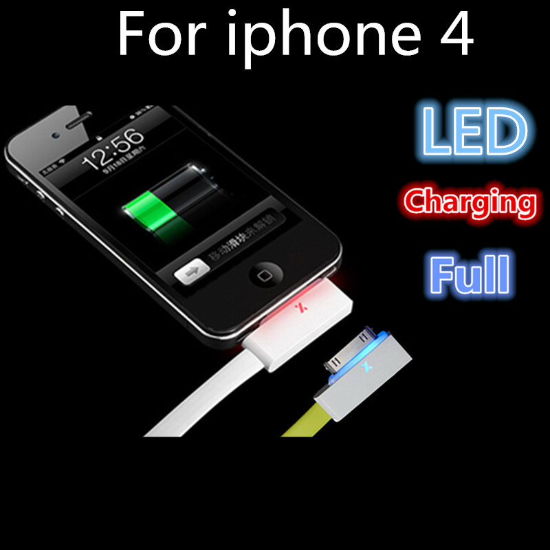 1 Pcs Newest Visible Flashing LED Bright high speed 30 Pin USB Charger Data Cable Flat Cord For iPhone 4 iphoen 4s for ipad 2 3(China (Mainland))