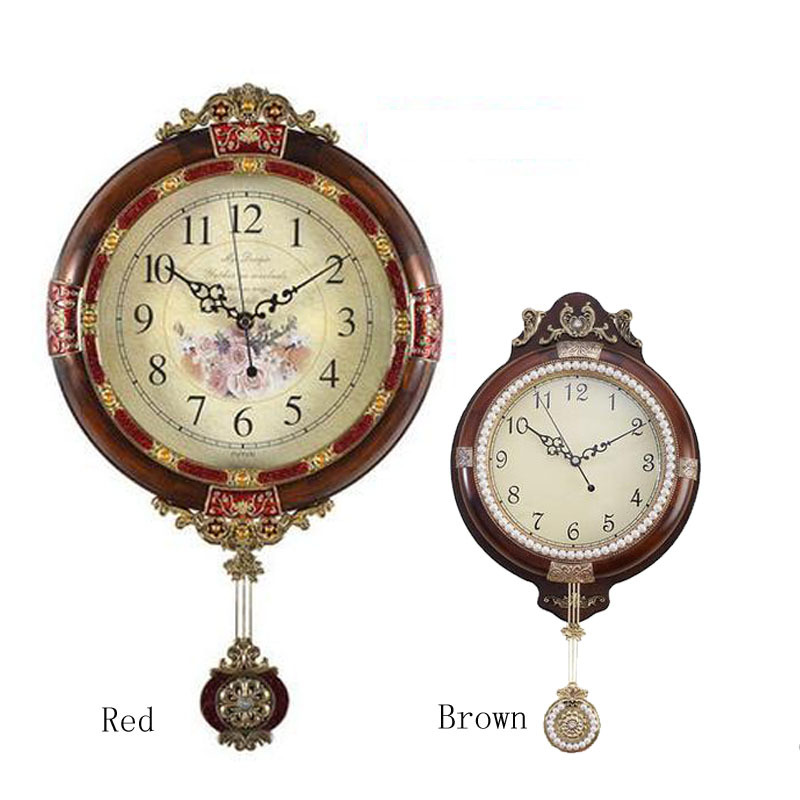 Arrive Solid Wood Brown Single Face Wall Clock Vintage French Home Decor Large Decorative Pendulum - Xun Mai Xi Store store
