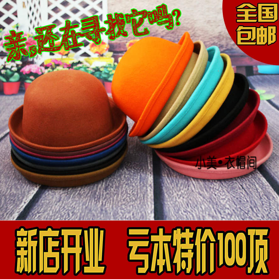 Hat female autumn and winter cashmere woolen dome roll-up hem small fedoras fashion round cap balls cap(China (Mainland))