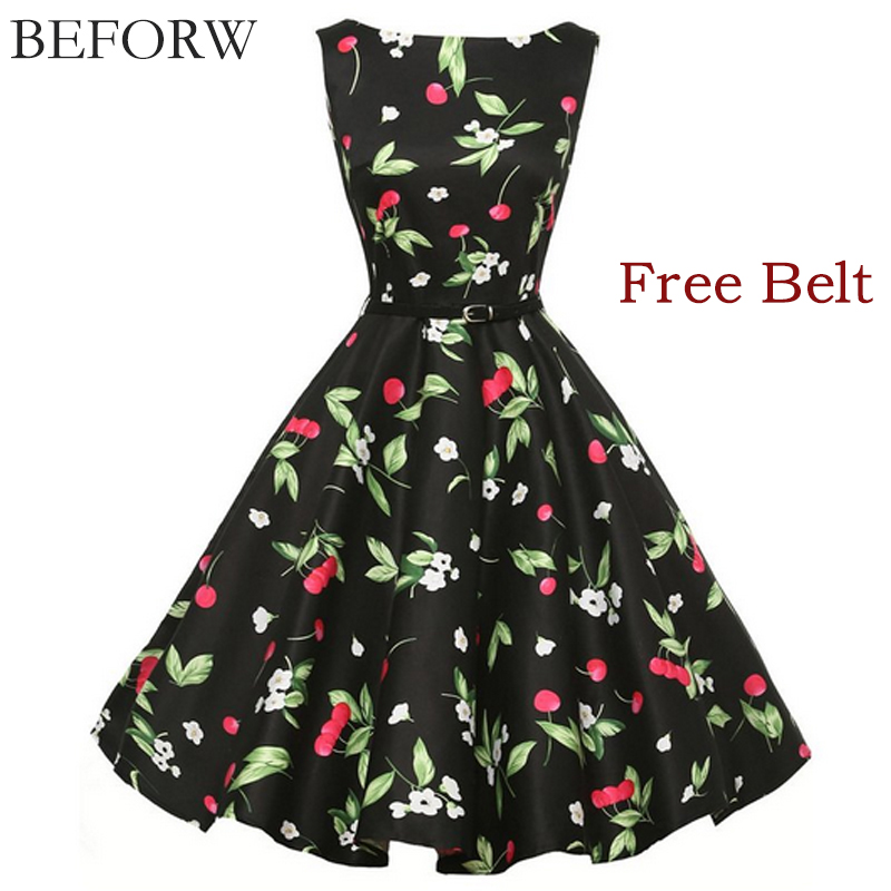BEFORW Vintage Dresses Fashion Printing Women Dress Casual Sleeveless Summer Dress Plus Size Black White Dresses Free Belt(China (Mainland))