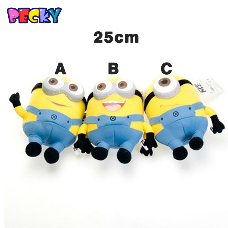 Becky 25cm despicable me 3D eyes plush Toy minions stuffed dolls jorge stewart dave minion plush toys Childs birthday gift  <br><br>Aliexpress