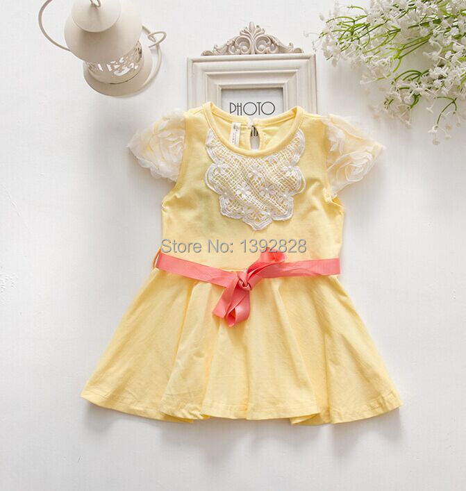 Wholesale 5pcs/lot newborn cute princess infant baby dress summer, baby clothes, Baby girls dress with sashes 3 color 0-2 yrs<br><br>Aliexpress