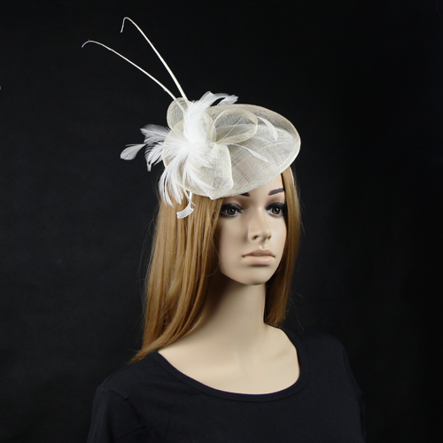 6pcs/lot Ladies sinamay fascinator with feathers hair accessories sinamay fascinators hat for wedding,church,cocktail(China (Mainland))