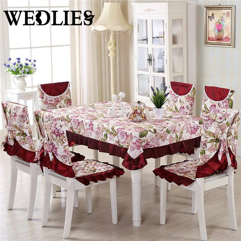 13pcs/set Floral Embroidery Crocheted Table Clothes Set Vintage Polyester Tablecloth Chair Cover Home Wedding Decoration(China (Mainland))
