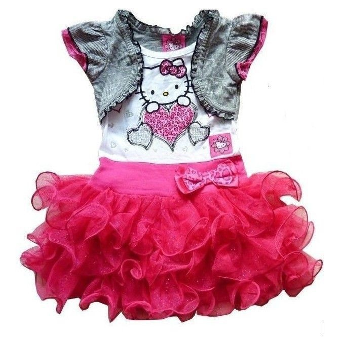 Retail New 2015 very beautiful Girl Dresses hello kitty Princess Dresses Children dress tutu drop shipping(China (Mainland))