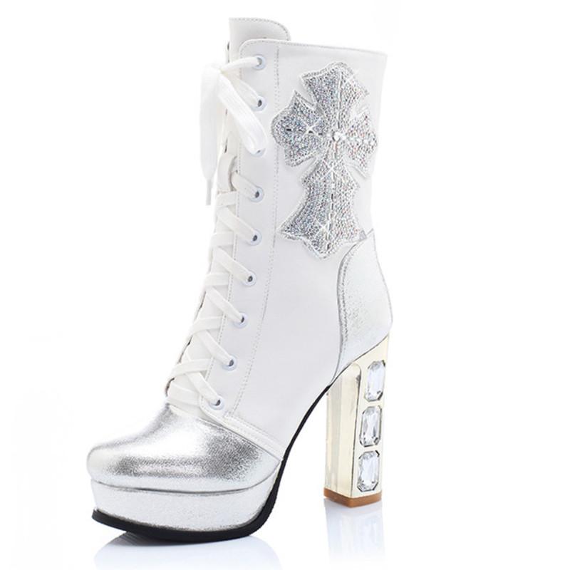 Autumn Winter Boots Rhinestone Women Shoes Fashion Thick Heel Women Boots Platform Pumps Ladies Shoes Mid Calf<br><br>Aliexpress