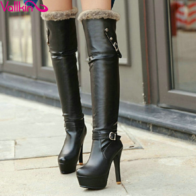 VALLKIN 2015 Fashion knee Heels Girl Boots Women Shoes Platform Knee High Wedding Snow size 34-42 - QUTAA Official Store store
