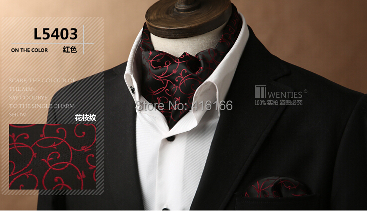 Black Floral Ascot Cravat(Scarf )+Pocket Square 1set/lot L5403 100% Silk Jacquard Ties Free shipping(China (Mainland))