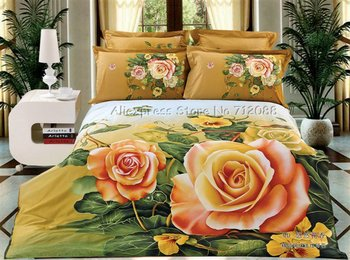 Wholesale,4pc Full/Queen comforter bedding sets cotton orange floral printed orange yellow duvet quilt covers sets 4pc bedlinen