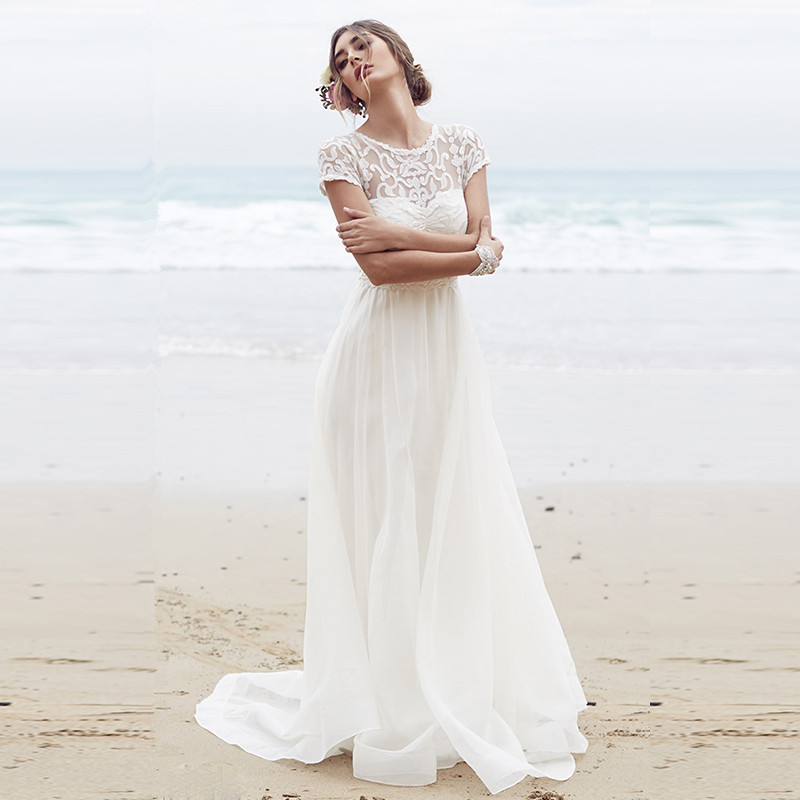Sexy beach wedding dress 2015 white bohemian wedding for Bohemian white wedding dress