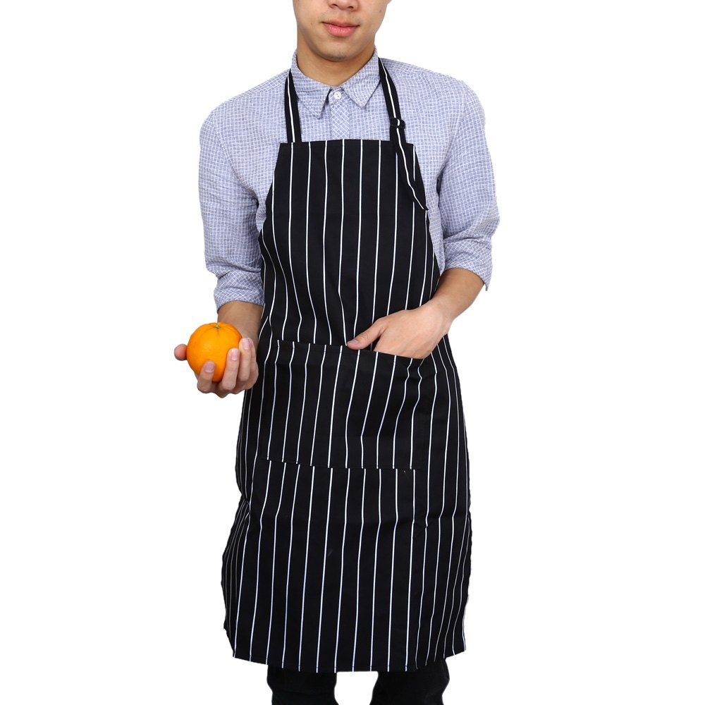 Cook Kitchen Waiter Chef Stripe Bib Apron with 2 Pocket With High quality polyester, fastness and wrinkle-resistance(China (Mainland))