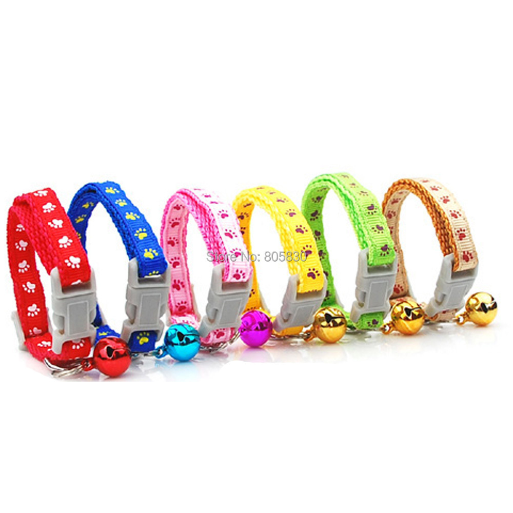 Hotsale (6 pcs/lot) 0.8cm Wide Nylon Small Puppy Kitten Kitty Cat Collar with Bell 6 Colors Pink Red Blue Brown Green Yellow(China (Mainland))