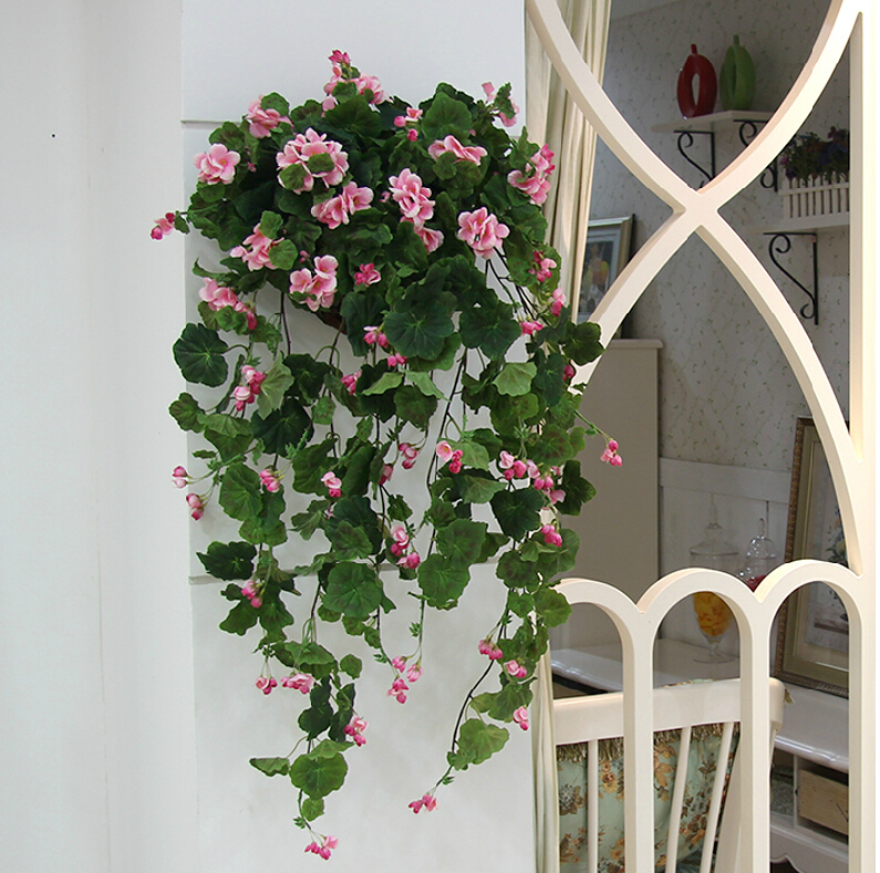 2015 Artificial flowers real touch home party wedding decoration begonia flower vine(China (Mainland))