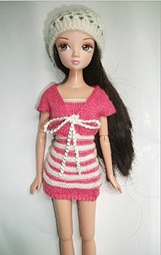 Vogue Mini Gown Handmade Sweater Informal Put on Garments For Barbie Doll(pink & white)