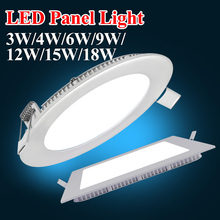 Ultra Thin Led Panel Downlight 3w 4w 6w 9w 12w 15w 18w Round Ceiling Recessed Spot Light AC85-265V Painel lamp Indoor Lighting