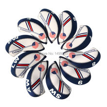 Free Shipping 10PCS/set Duplex Printing Waterproof Golf Club Head Iron Headcovers Blue White Head cover(China (Mainland))