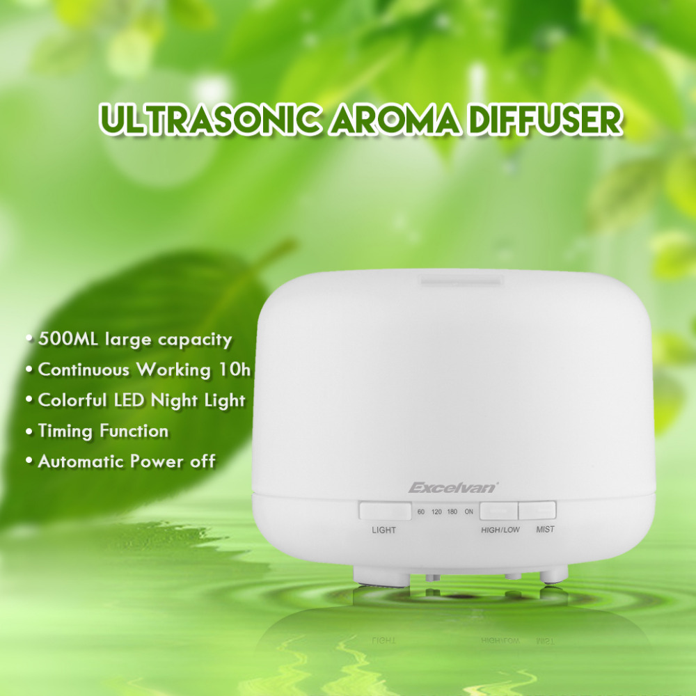Excelvan 500ml Aroma Essential Oil Diffuser Ultrasonic Humidifier Aromatherapy Mist Maker Air Purifier LED Light EU US Plug(China (Mainland))