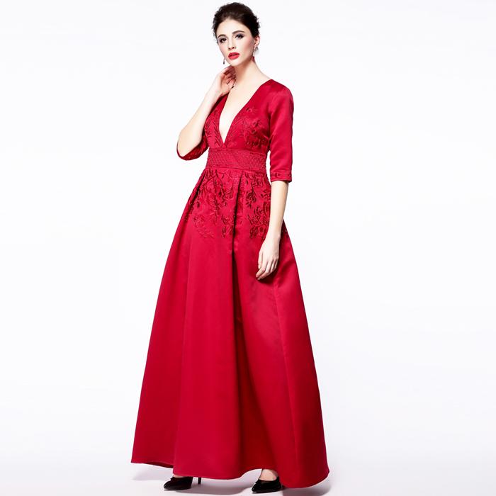 2015 runway dress women high quality dress embroidery red long dress D1104Одежда и ак�е��уары<br><br><br>Aliexpress