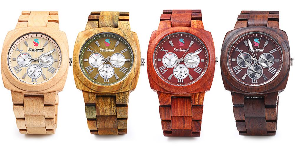 2016 новинка сезонные мужчины кварцевые часы с декоративной суб-оптовая суб-набор мужчин деревянные наручные часы для рождественских подарков