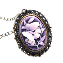 Purple Butterfly Flower 3D Design Vintage Retro Quartz Pocket Watch With Sweater Necklace Chain For Women Ladies(China (Mainland))