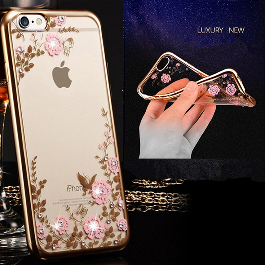 Luxury Bling Diamond Transparent TPU Case For iPhone 5 5s 6 6s 6Plus Clear Crystal Cover For Samsung Galaxy S5 S6Edge Note 3/4/5(China (Mainland))