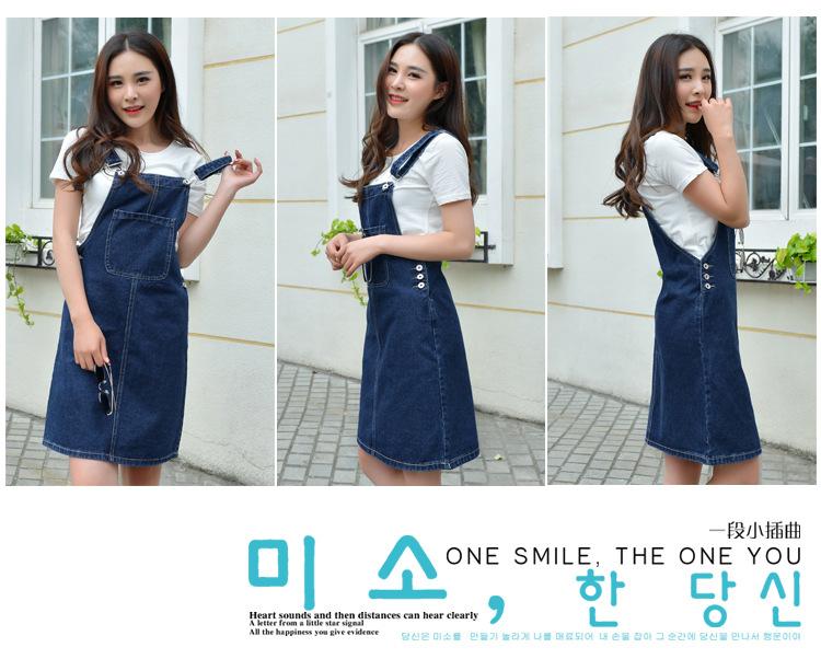 Summer women denim dress denim sundress girls Casual loose overalls female solid color adjustable straps jeans dresses