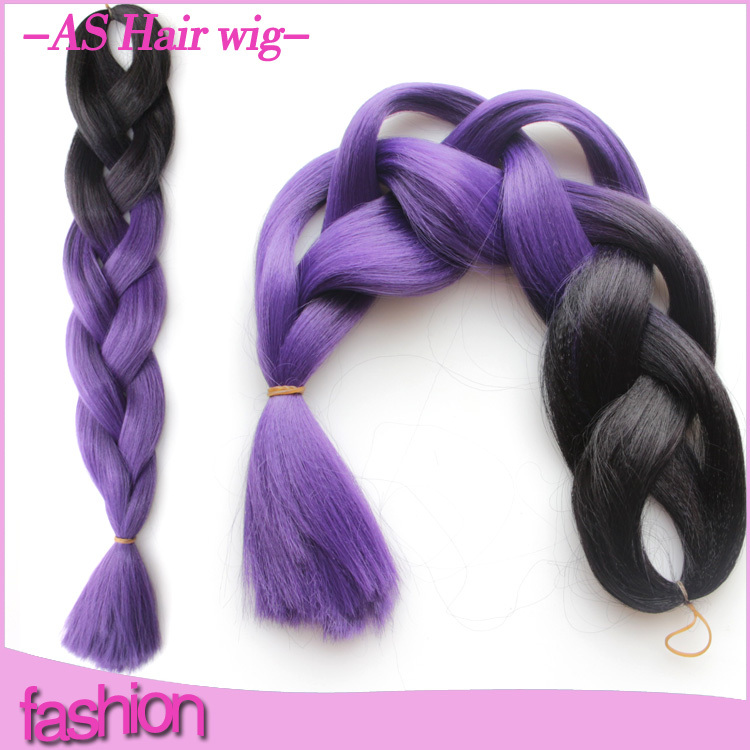 ombre kanekalon braiding hair hair extension Black&Purple Ombre Two Tone Coloured 24inch100grams/pack FREE Shipping(China (Mainland))