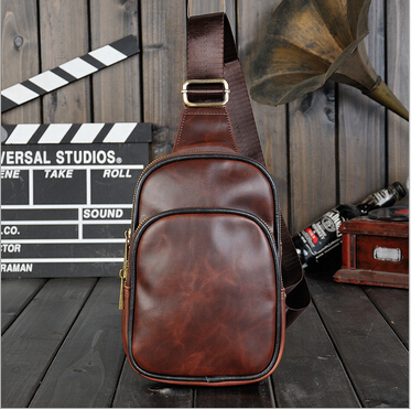 Casual men crazy horse leather chest bag retro small messenger bags famous brand mini travel bags bolsa masculina sacoche homme(China (Mainland))