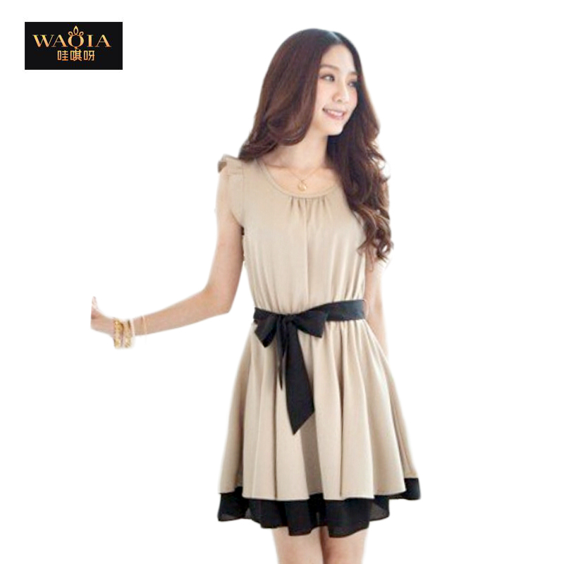 2015 new hot summer Fashion Cozy women clothes Noble elegant chiffon dress lace vest dress casual t shirt Lotus sleeve butterfly(China (Mainland))