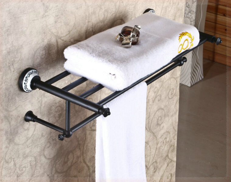 Ceramic Deco Wall Mounted Towel Rack Oil Rubbed Bronze Bath Towel Holder wall bathroom faucet(China (Mainland))