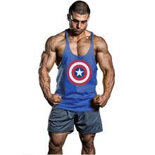 Bodybuilding Gym Men Captain America Sports Gymshark Singlets Mens Tank Top Stringer Bodybuilding Golds Gym Cotton Sports Vest(China (Mainland))