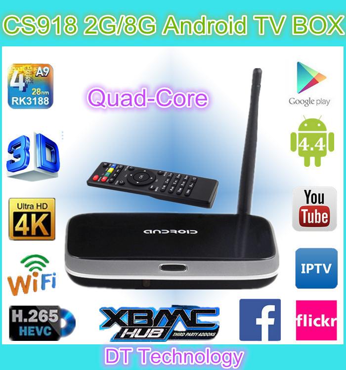 smart box tv RK3188 MK888 CS918 tv box HD/Bluetooth/Wifi android 4.4 quad core tv box CS918 2g 8g factory wholesale 2015(China (Mainland))