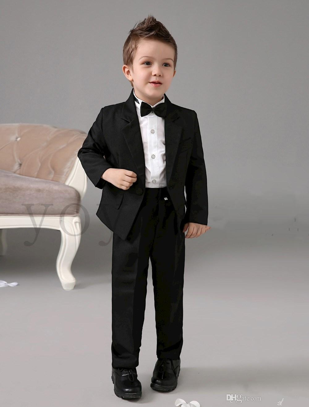 Three Pieces Luxurious Black Ring Bearer Suits Boys Tuxedo With Black Bow Tie kids formal dress boys suits fashion kids suit(China (Mainland))