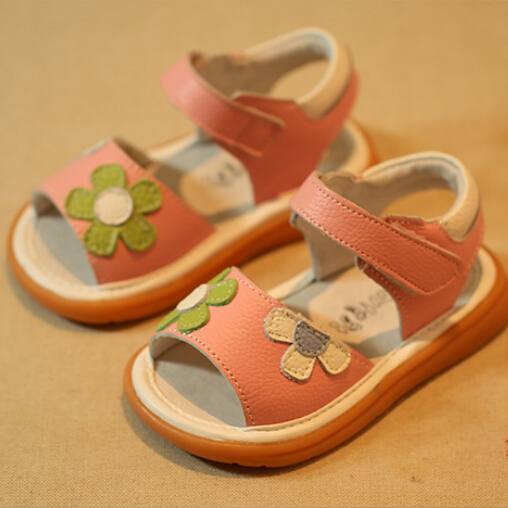 2015 New Super Quality Children Girl Real Leather Sandals Flower Pink White Color Kids Fashion Summer Shoes Design Brand - MOON C KIDS store