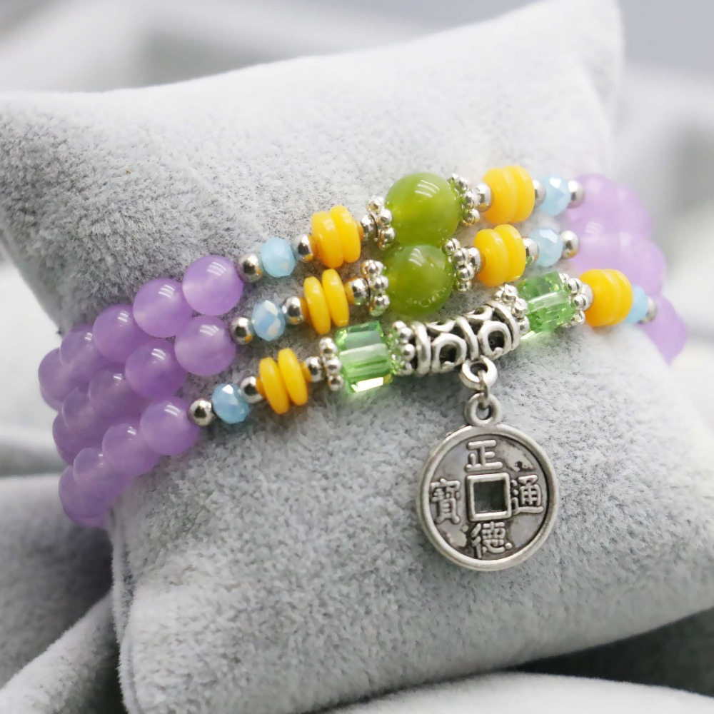 Light purple Chalcedony Lucky Crystal beads natural stones Bracelet hand chain for women girls Ladies Ancient coin Pendant(China (Mainland))