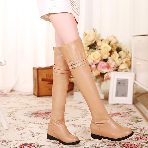 New 2014 Winter Over The Knee High boots women motorcycle boots high leg riding boots low heel suede belt buckle Thigh boots<br><br>Aliexpress