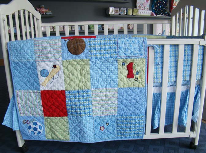 Baby Boy Quilt Patterns Set : 4PC 100% Cotton Boy Baby Crib Bedding Set Quilt Bumper Fitted Sheet Dust Ruffle Embroidery Dog ...
