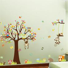 lovely monkeys tree wall stickers for kids room home decoration animals adesivo de parede 1212. cartoon pvc decals mural art 3.0(China (Mainland))