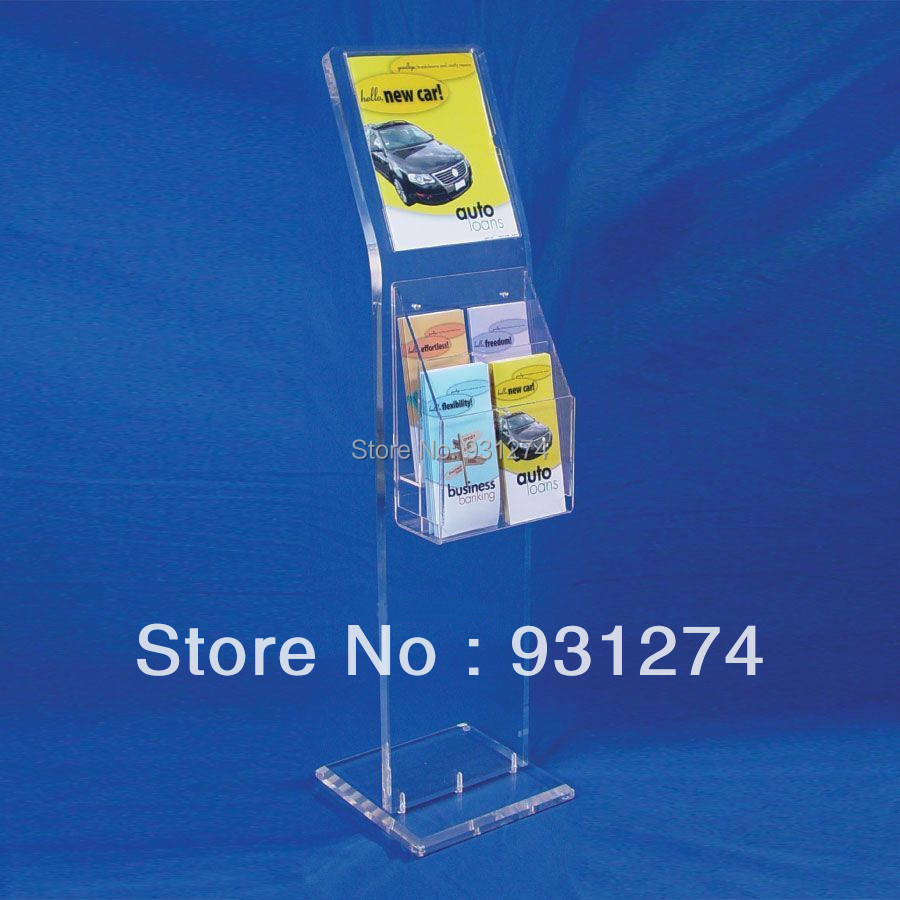 Floor Standing acrylic literature holder for lobby office Commercial catalogue shelf Folding file magazine book rack furniture(China (Mainland))