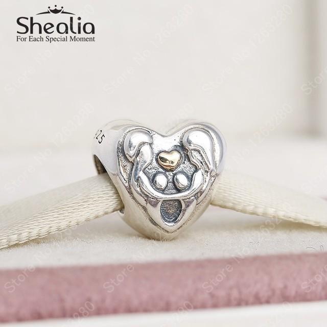 100% стерлингового серебра 925 семья любовь шармов сердца с реальными 14 К золото для женщин браслеты DIY 2015 зима ювелирных украшений BD329