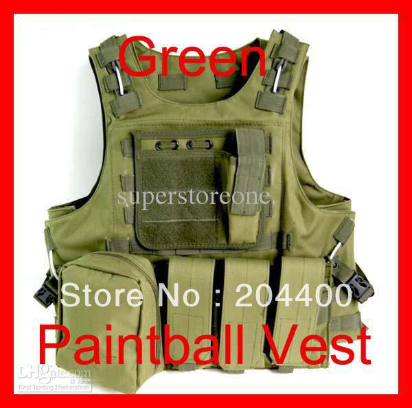 Free Shipping Hot Hunting New Airsoft MOLLE Nylon Combat Paintball Tactical Vest Green Outdoor Products(China (Mainland))