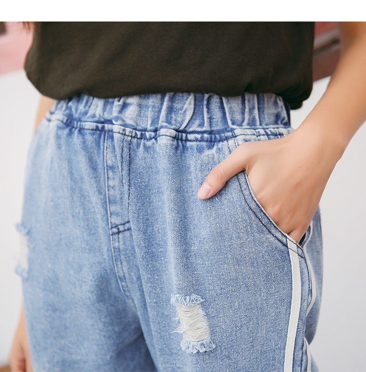 2017 New Vintage Holes Jeans Women Casual Denim Pant Spring Summer High Waist Ripped Jean Ladies White Striped Side Bottom S-XXL