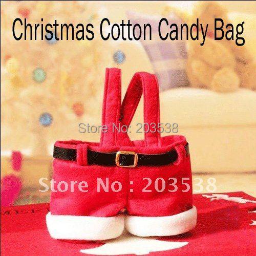 Christmas Decoration Supplies Gift Santa Claus Pants Style Christmas Candy Bag Christmas Ornaments10pcs/lot(China (Mainland))