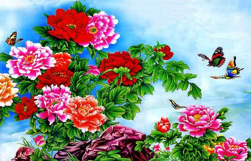Free shipping 2014 new wall home decoration pictures, Luxurious Peonies with Butterflies Reproduction of archaic oil painting(China (Mainland))