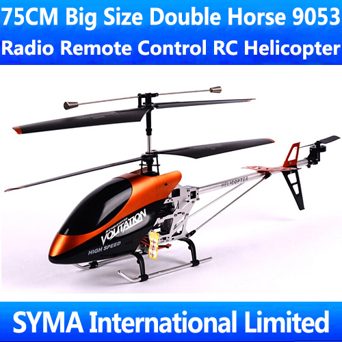 Free Shipping 75CM 3.5CH Gyro Large Big Classic Model Double Horse 9053 Radio Remote Electric Control Metal RC Helicopter DH9053(China (Mainland))